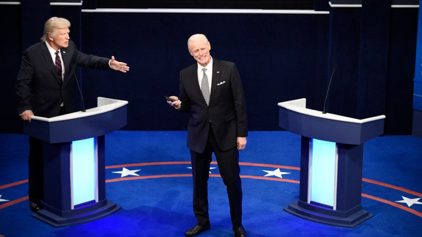 "This image released by NBC shows Alec Baldwin as Donald Trump, left, and Jim Carrey as Joe Biden during the ""First Debate"" Cold Open on ""Saturday Night Live"" in New York on Oct. 3, 2020."