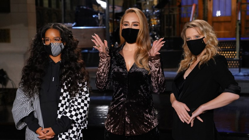 "Musical guest H.E.R, host Adele and Kate McKinnon appear on stage ahead of ""Saturday Night Live."""