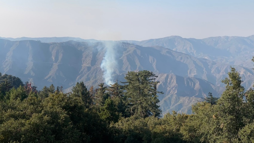 The Bobcat Fire burning in the Angeles National Forest.