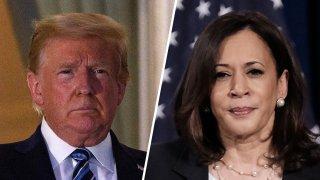 President Donald Trump (left) and Sen. Kamala Harris (right).