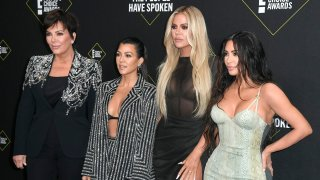 In this Nov. 10, 2019, file photo, (Left to right) Kris Jenner, Kourtney Kardashian, Khloe Kardashian, and Kim Kardashian West attend the 2019 E! People's Choice Awards at Barker Hangar in Santa Monica, California.