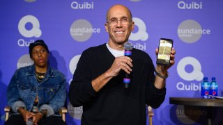 Jeffrey Katzenberg demonstrates Quibi's Turnstyle technology