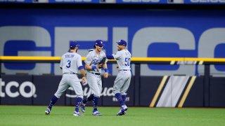 The Dodgers celebrate.