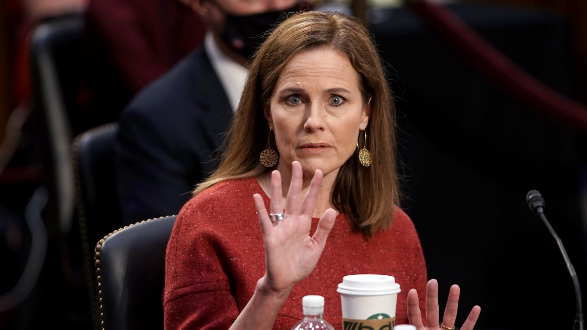 Trump's Words Haunt Amy Coney Barrett as She Vows Not to Be a 'Pawn' on Supreme Court 1