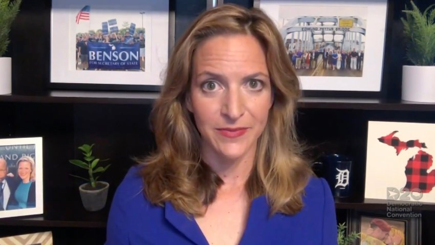 In this screenshot from the DNCC's livestream of the 2020 Democratic National Convention, Michigan Secretary of State Jocelyn Benson addresses the virtual convention on August 20, 2020.