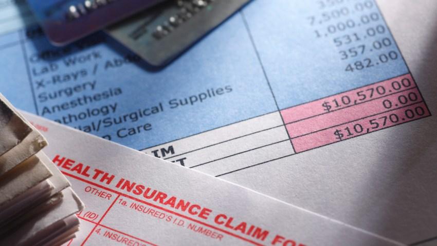 A health insurance claim form on a medical bill.