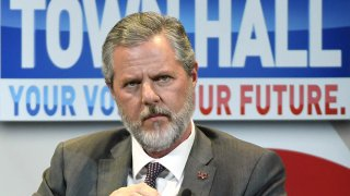 """Former president of Liberty University Jerry Falwell Jr. participates in a town hall meeting on the opioid crisis as part of first lady Melania Trump's """"Be Best"""" initiative at the Westgate Las Vegas Resort & Casino, March 5, 2019, in Las Vegas."""