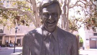 Pete Wilson's statue in downtown San Diego's Horton Plaza.
