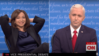 "Maya Rudolph plays Kamala Harris and Beck Bennett plays Vice President Mike Pence on ""Saturday Night Live,"" October 10, 2020."