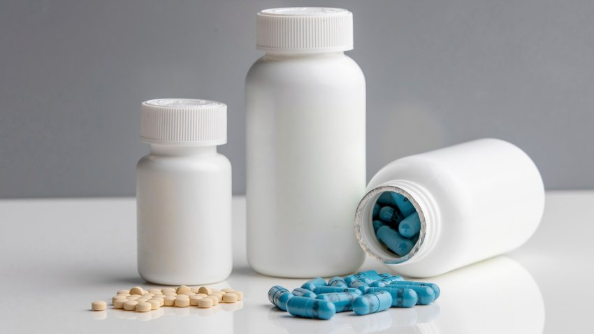 75mg aspirin pills, left, and Polycaps, pills from India-based Cadila Pharmaceuticals