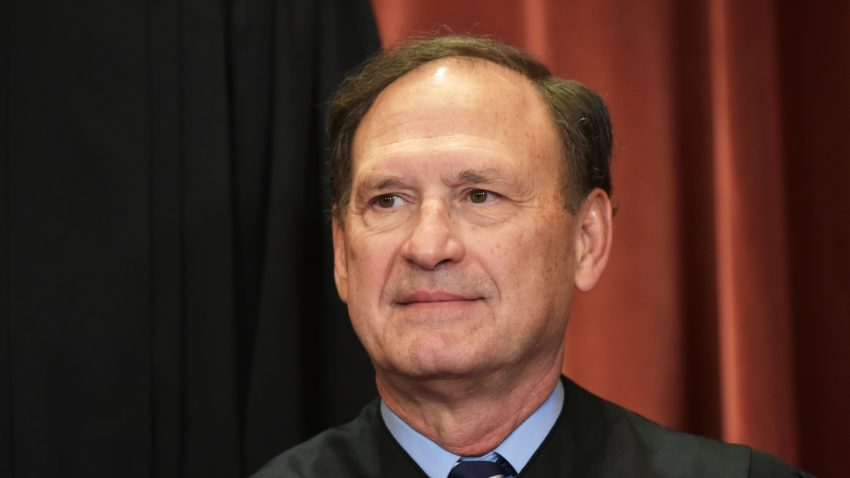 In this Nov. 30, 2018, file photo, Associate Justice Samuel Alito poses for the official group photo at the US Supreme Court in Washington, DC.