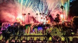 Fireworks light up the sky in Riverside.
