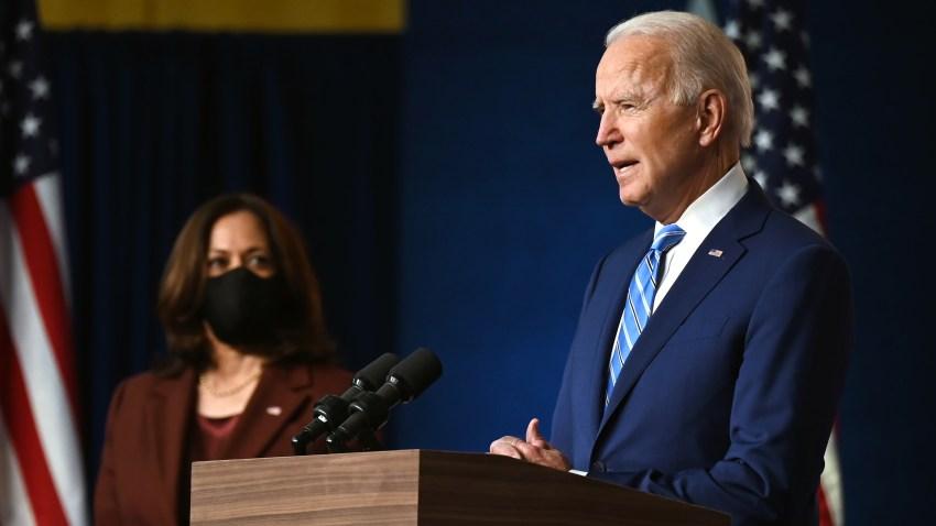Democratic Presidential candidate Joe Biden, flanked by US Democratic vice presidential nominee and Senator from California, Kamala Harris
