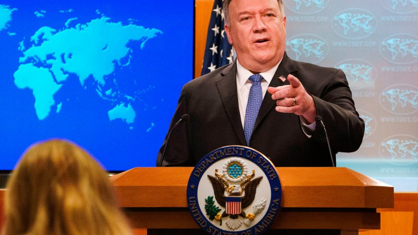 US Secretary of State Mike Pompeo gestures toward a reporter while speaking about the counting of votes in the US election during a briefing, on November 10, 2020, at the State Department in Washington, DC