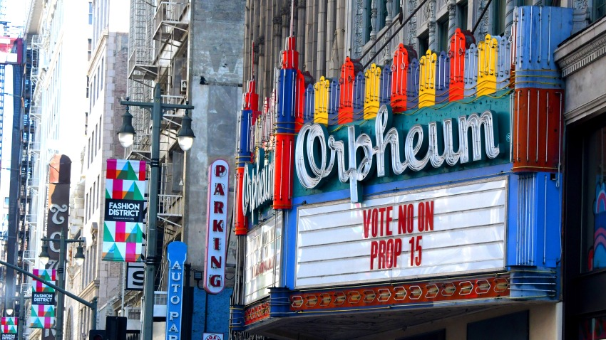 The Orpheum Theatre marquee is asking people to vote no on Prop 15.