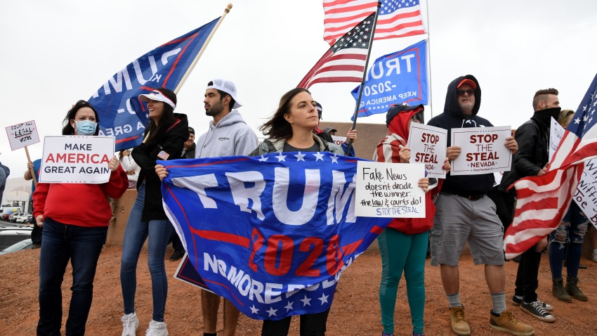 Supporters of President Donald Trump protest outside the Clark County Election Department in Nevada
