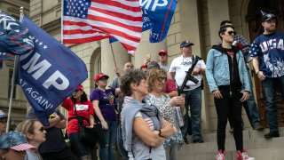 Trump supporters demonstrate at the Michigan state capitol