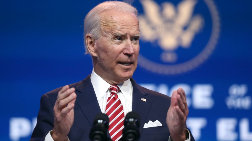 President-elect Joe Biden delivers remarks about the U.S. economy during a press briefing at the Queen Theater on November 16, 2020, in Wilmington, Delaware.