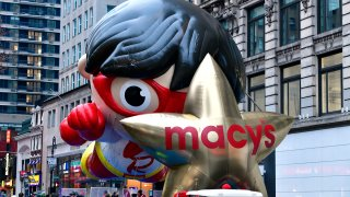 Red Titan and Macy's star balloons lined up at the 94th Annual Macy's Thanksgiving Day Parade