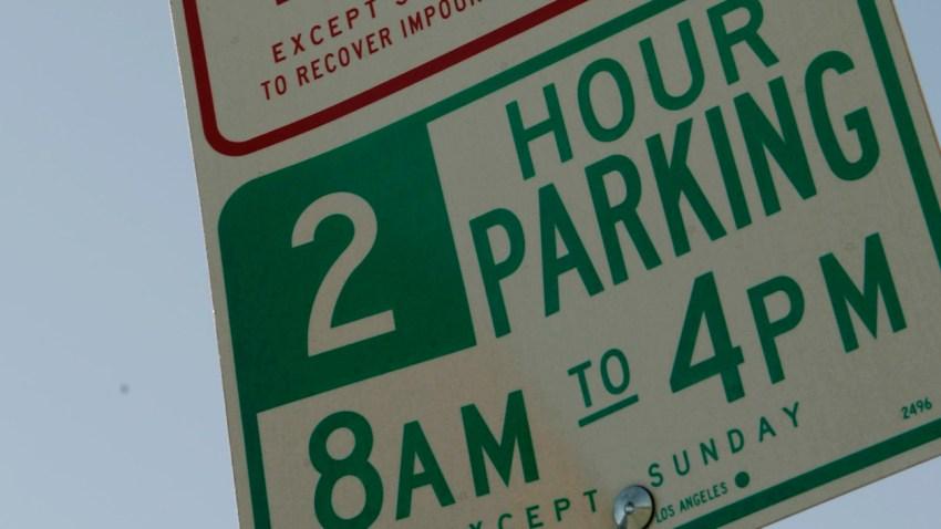 A parking sign along Pico Boulevard.
