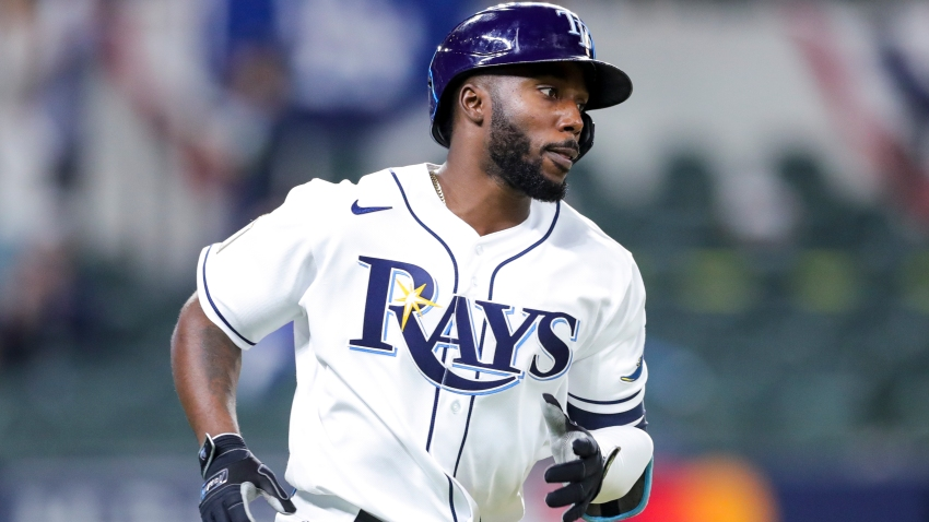 In this Oct. 23, 2020, file photo, Randy Arozarena #56 of the Tampa Bay Rays rounds the bases after hitting a solo home run in the ninth inning during Game 3 of the 2020 World Series between the Los Angeles Dodgers and the Tampa Bay Rays at Globe Life Field in Arlington, Texas.