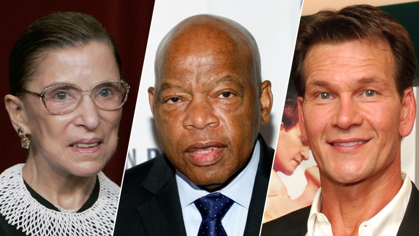 Ruth Bader Ginsburg (left) John Lewis (middle) and Patrick Swayze (right).