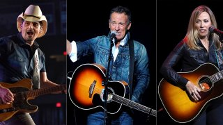 This combination photo shows Brad Paisley, from left, Bruce Springsteen and Sheryl Crow who will participate in this year's Stand Up for Heroes fundraiser on Nov. 18.