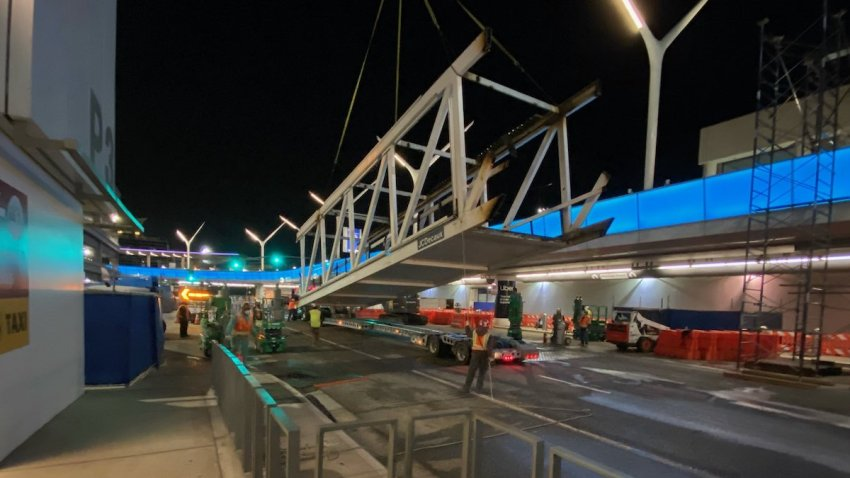 A bridge is removed at LAX.