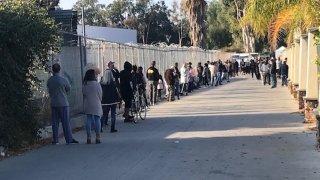 A line at the San Fernando Park COVID-19 testing supersite.