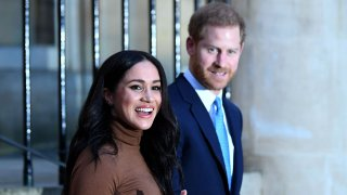 Prince Harry, Duke of Sussex and Meghan, Duchess of Sussex react after their visit to Canada House in thanks for the warm Canadian hospitality and support they received during their recent stay in Canada, on January 7, 2020 in London, England.