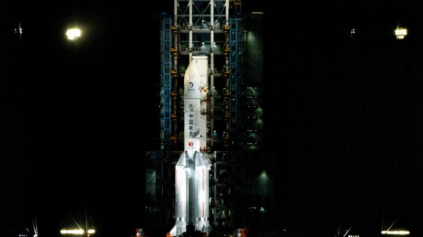 The Long March 5 rocket carrying Chang'e 5 is seen on the launch pad at the Wenchang Space Launch Site on Hainan