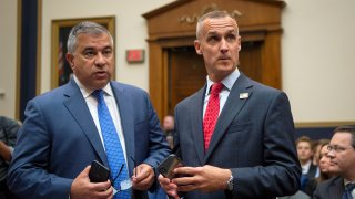 UNITED STATES - SEPTEMBER 17: Corey Lewandowski, the former campaign manager for President Donald Trump, right, stands with David Bossie, as he arrives to testify to the House Judiciary Committee in Washington on Tuesday September 17, 2019.