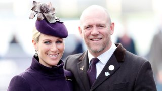 In this March 13, 2020, file photo, Zara Tindall and Mike Tindall attend the Cheltenham Festival 2020 in Cheltenham, England. The couple welcomed their third child over the weekend.