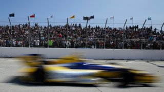 Marco Andretti races past the crowd at the Grand Prix of Long Beach.