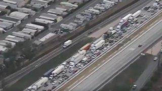 Traffic jam on the freeway.