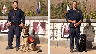 """Nick Medina and Mattis (left) and John Paul """"JP"""" Hilsabeck and Bond, both of California Task Force 2, Los Angeles County Fire Department, are pictured."""
