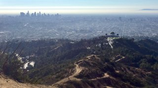 Downtown Los Angeles and the Griffith Observatory are seen in this photo taken from the Tom LaBonge Summit in Griffith Park.