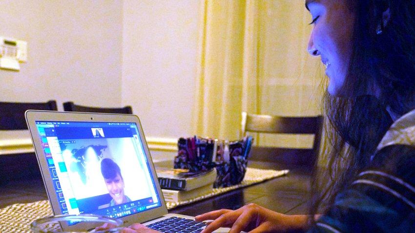 Charvi Goyal, 17, gives an online math tutoring session