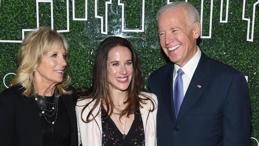 In this Feb. 7, 2017, file photo, Dr. Jill Biden, Livelihood founder Ashley Biden and Vice President Joe Biden attend the GILT and Ashley Biden celebration of the launch of exclusive Livelihood Collection at Spring Place in New York City.