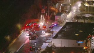 The scene of a water rescue operation in San Ysidro.