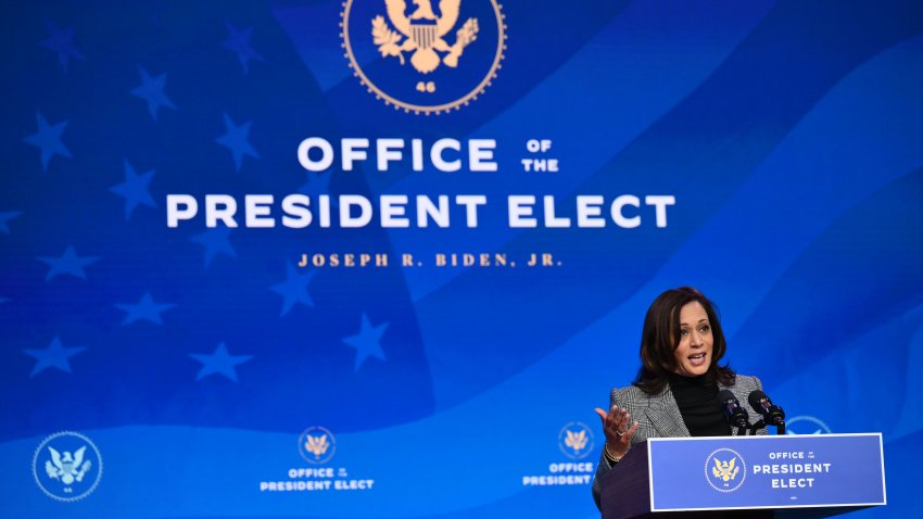 US Vice President-elect Kamala Harris speaks after US President-elect Joe Biden nominated their science team on January 16, 2021, at The Queen theater in Wilmington, Delaware.