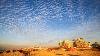 General view of Gaza beach during sunset on January 26, 2021. Amid coronavirus disease (COVID-19) in the Gaza Strip