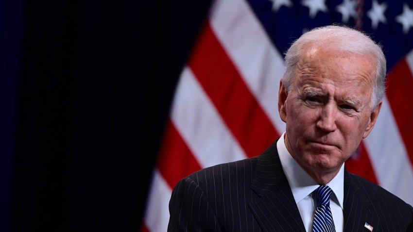 """President Joe Biden answers questions from the media after signing a """"Made in America"""" Executive Order in the South Court Auditorium at the White House, Jan. 25, 2021, in Washington, D.C."""