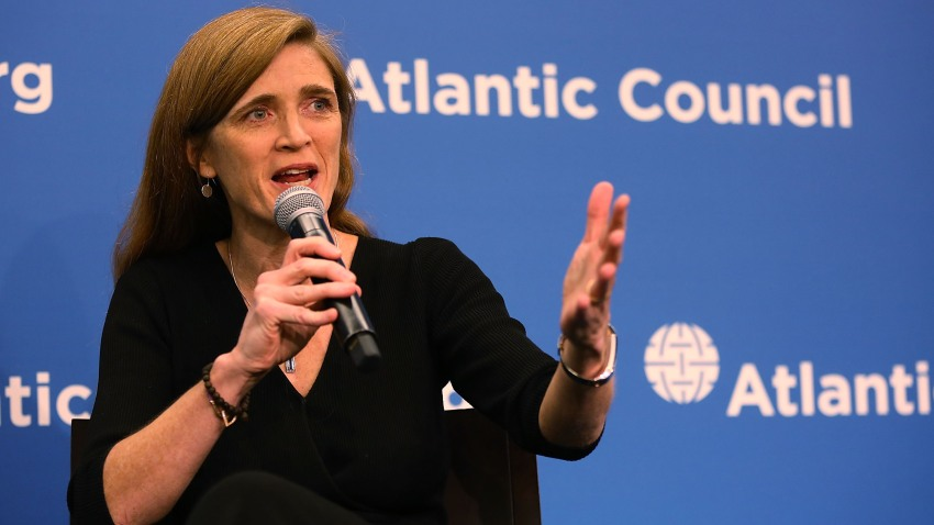 "In this Jan. 17, 2017, file photo, U.S. Permanent Representative to the United Nations Samantha Power speaks during a discussion at the Atlantic Council on ""The Future of U.S.-Russia Relations"" in Washington, D.C."
