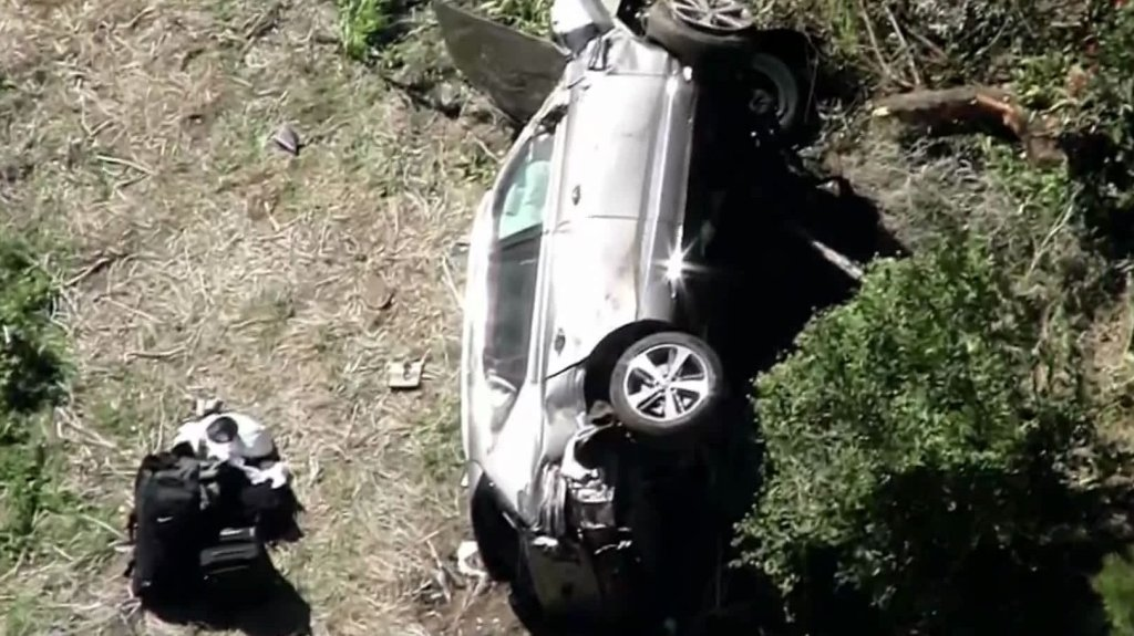 Tiger Woods car after his accident on Feb. 23, 2021.