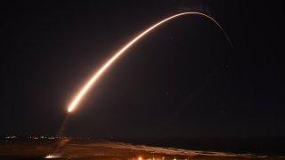 An Air Force Global Strike Command unarmed Minuteman III intercontinental ballistic missile.