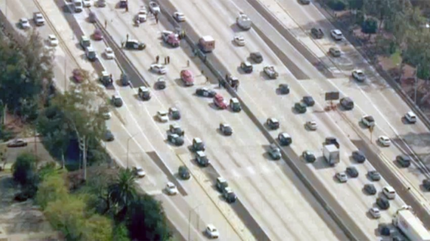 Traffic at the scene of a crash on the 10 Freeway.