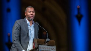 Author Ta-Nehisi Coates speaks during the Celebration of the Life of Toni Morrison, Thursday, Nov. 21, 2019, at the Cathedral of St. John the Divine in New York. Morrison died in August at age 88.