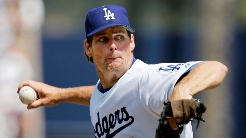 Los Angeles Dodgers pitcher Scott Erickson throws to a Los Angeles Angels batter in an April 3, 2005, baseball game in Los Angeles. Erickson has been charged with reckless driving in connection with a hit-and-run in Southern California that killed two boys last year.