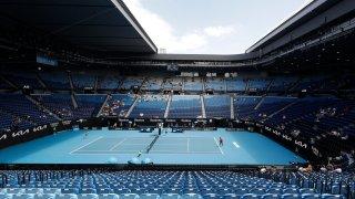 United States' Serena Williams, right, serves to Russia's Anastasia Potapova during their third round match on Rod Laver Arena at the Australian Open tennis championship in Melbourne, Australia, Friday, Feb. 12, 2021.